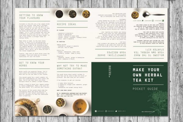 make your own herbal tea gift set booklet front