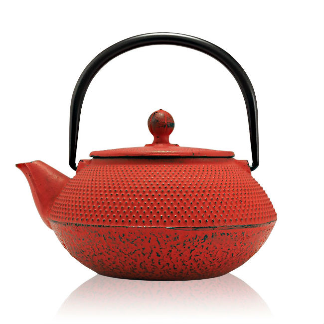 tenshi red cast iron teapot gift set for tea lovers