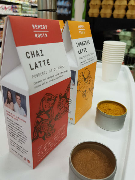 Turmeric and Chai Latte - Compostable Packaging Side Shot
